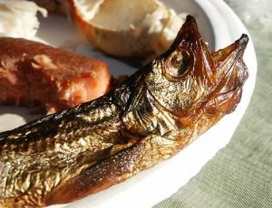 Figure 2.20 Image of cooked ooligan. With 20% fat by body weight, this fat rich fish is a crucial part of the First Nations diet.