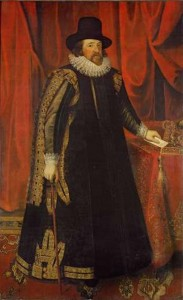 Painting depicts Sir Francis Bacon in a long cloak.