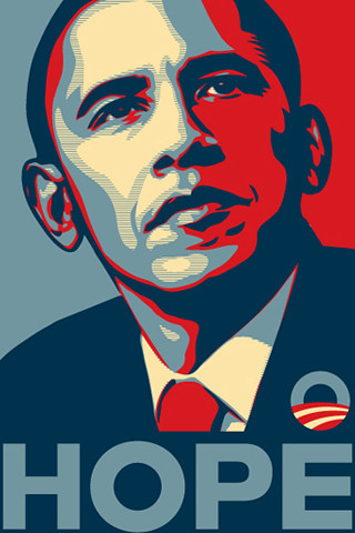 """A stylized stencil portrait of Barack Obama in red, beige, and blue with the word """"hope"""" underneath."""