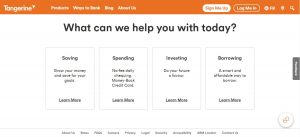 """Screenshot of Tangerine.com. On the main page the question """"what can we help you with today"""" is above the four options: saving, spending, investing, and borrowing."""
