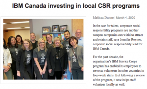 IBM Canada offers employees the opportunity to volunteer through their service corp across the globe