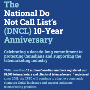 10 year anniversary for the Do Not Call list from 2008/9