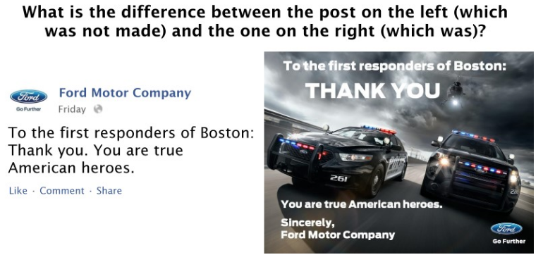 Ford Social Media Posts During Boston Bomber Tragedy in 2013