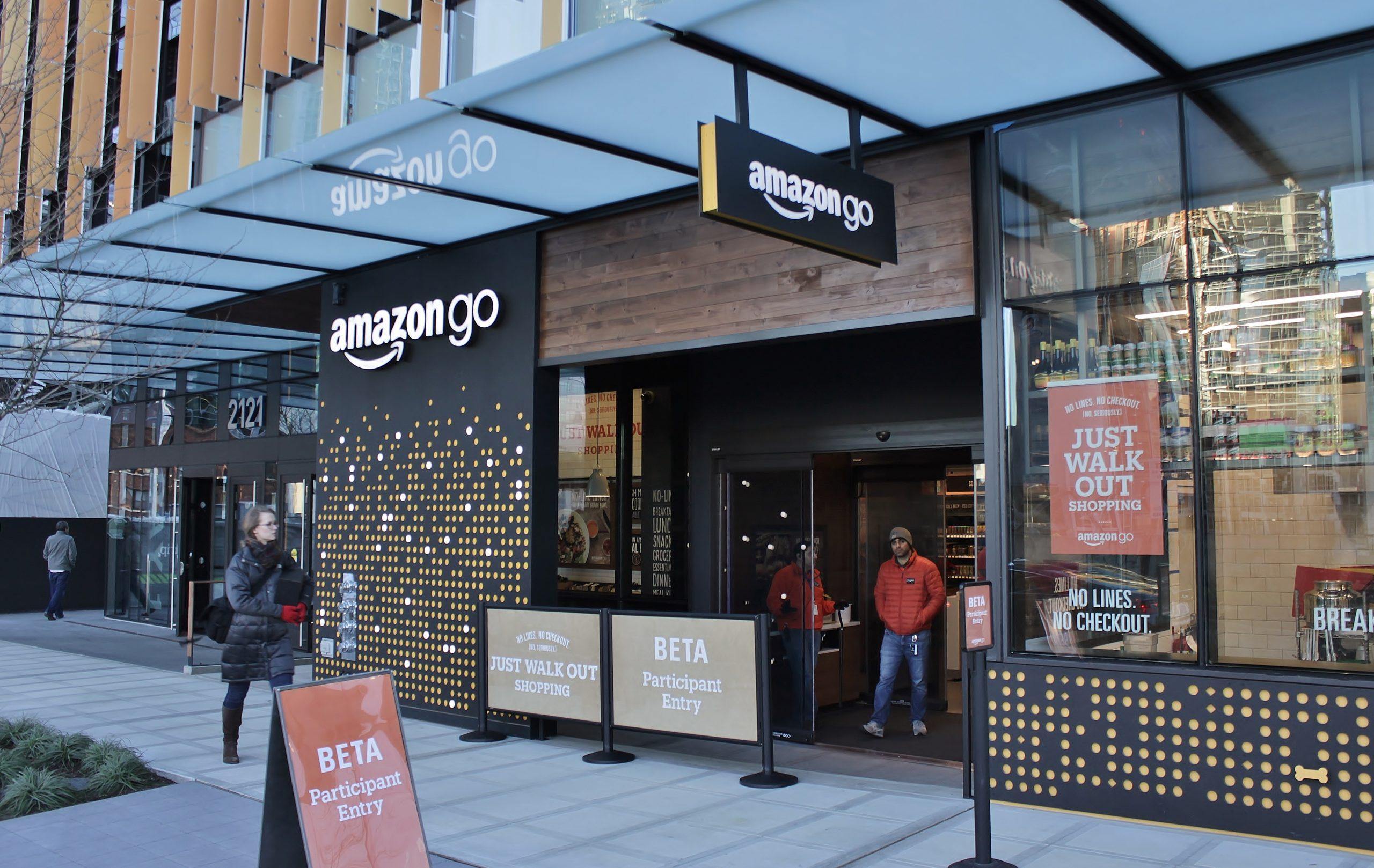 Exterior photo of the Amazon Go prototype grocery store.