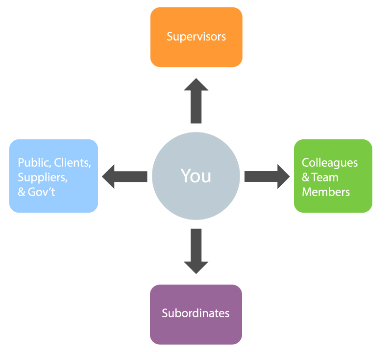 You have relationships with Supervisors; Colleagues and Team Members; Subordinates; and the public, clients, supplies, and government.