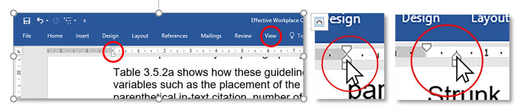 Tabbing a References list by making the left-margin tab visible, clicking on the bottom triangle, and dragging it a half-centimeter to the right