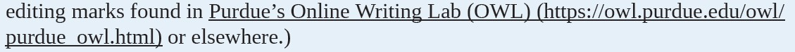 A sentence referencing Purdue's Online Writing Lab (OWL) followed by the web address to the OWL website in parentheses