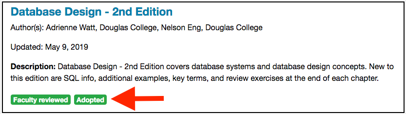 Books in the BCcampus collection that have been adopted are flagged as such.