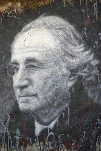 a painted portrait of Bernie Madoff