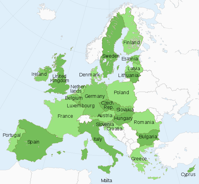 A map of Europe showing member states of the European Union in green