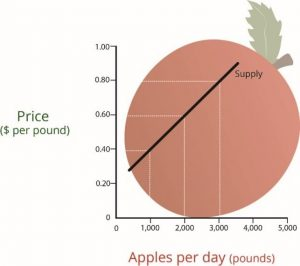A graph with numbers 0-5000 on the X axis for pounds of apples per day and 0-1.0 for Price per pound on the Y axis. The demand curve shows a diagonal line moving higher from left to right.