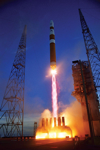 """Source: """"Delta IV Medium Rocket DSCS"""" by U.S. Air Force is is in the public domain"""