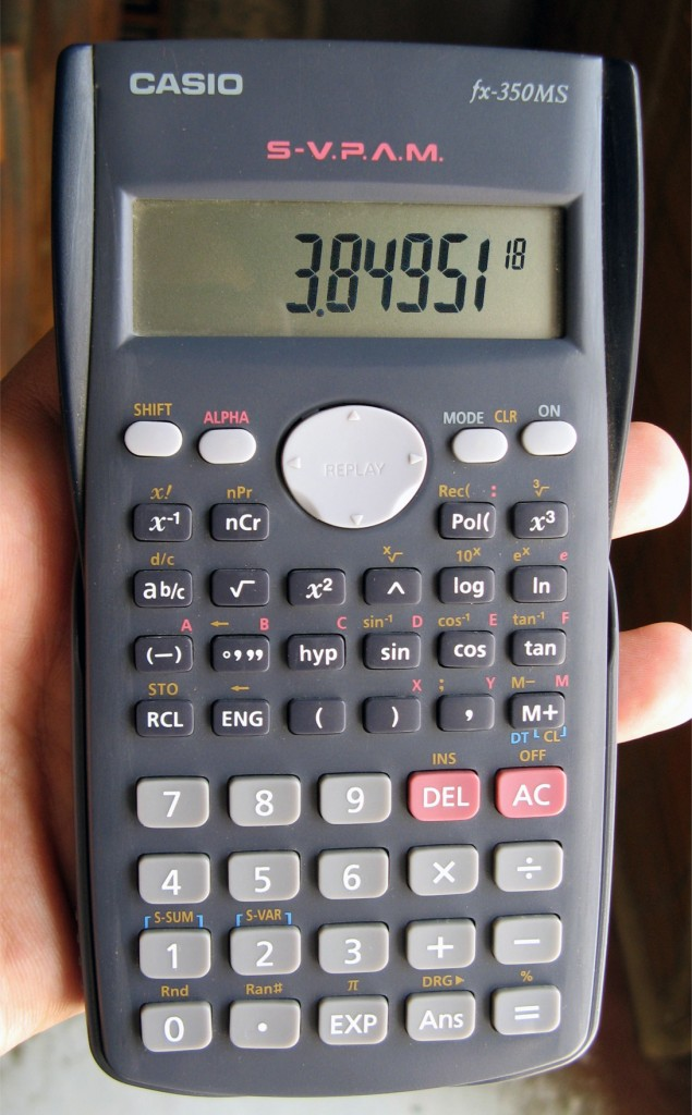 """This calculator shows only the coefficient and the power of 10 to represent the number in scientific notation. Thus, the number being displayed is 3.84951 × 1018, or 3,849,510,000,000,000,000. Source: """"Casio""""Asim Bijarani is licensed under Creative Commons Attribution 2.0 Generic"""