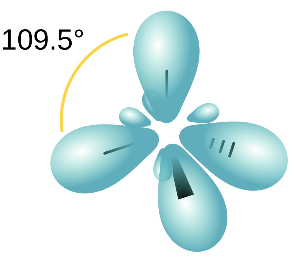 Figure #.#. Depiction of a tetrahedral carbon atom having four sp3 hybridized orbitals.
