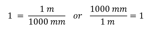 conversion factor 1m / 1000 mm