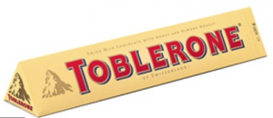 Toblerone Chocolate's Distinctive shape is an inherent part of its brand packaging.