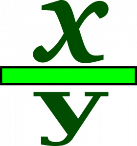 A fraction showing x over y.
