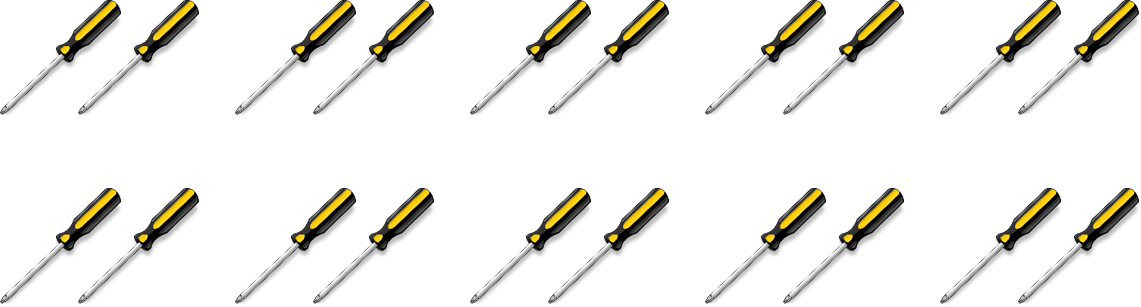 20 screwdrivers with two screwdrivers in each group. There are 10 groups total