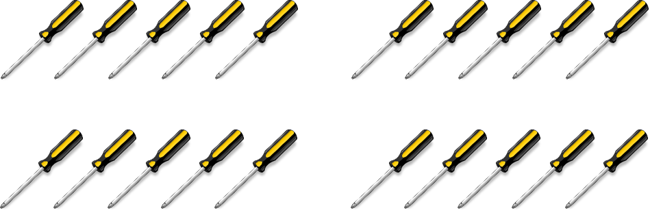 20 screwdrivers divided into groups of 5. There are 4 groups total