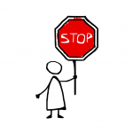 A cartoon of a person holding a stop sign.