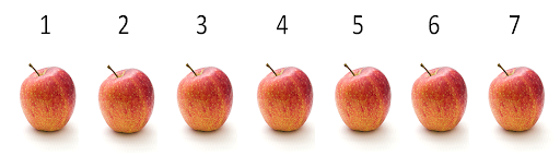 Seven apples in a line